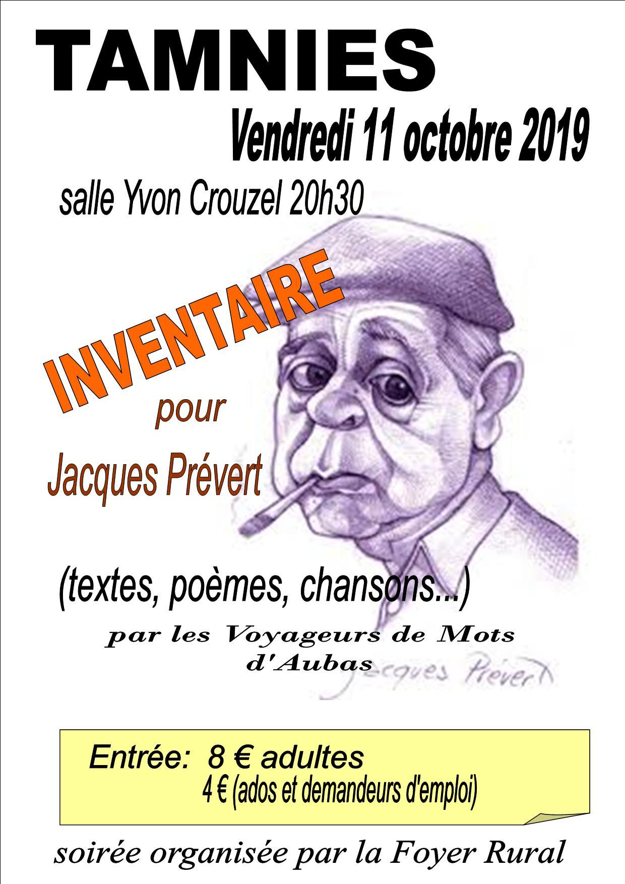 affiche Jacques Prévert 11 octobre 2019