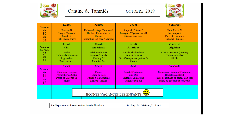 menu octobre 2019