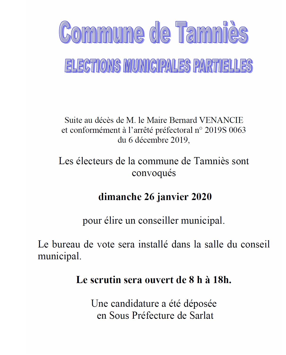 communication élections partielles 26 janv 2020